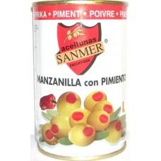 Зеленые оливки  фаршированные перцем ТМ SANMER